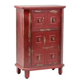 Distressed Red and Brass Side Table
