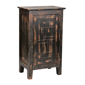 Distressed Red and Black Side Table