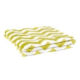 Lime & White Chevron Throw Blanket