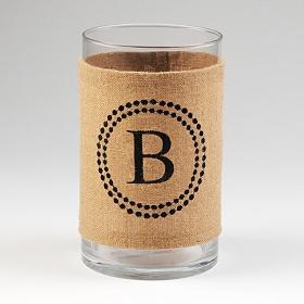 Burlap Monogram B Vase