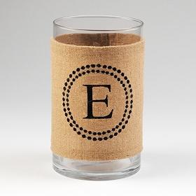 Burlap Monogram E Vase