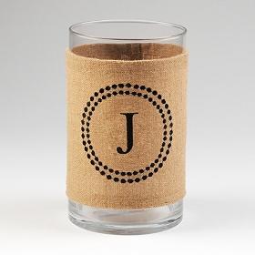 Burlap Monogram J Vase
