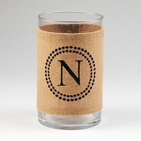 Burlap Monogram N Vase