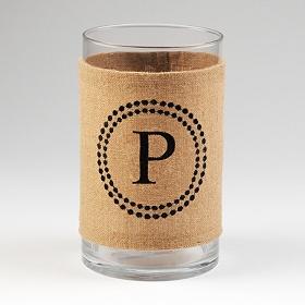Burlap Monogram P Vase