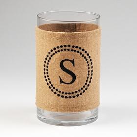 Burlap Monogram S Vase
