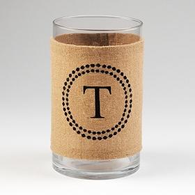 Burlap Monogram T Vase