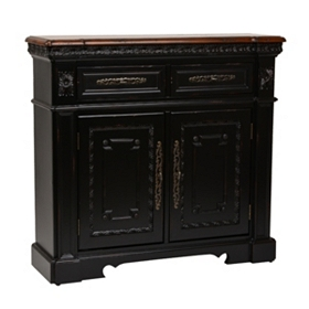 Antique Black 2-Drawer Cabinet