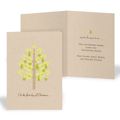 Pear Tree Recycled Christmas Card