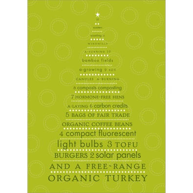 Green Countdown Recycled Christmas Card